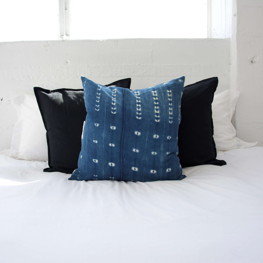 Indigo African Mud Cloth Pillow #19 - 22x22