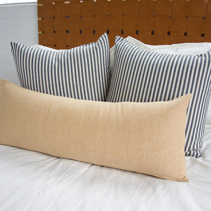Large Navy Stripe + Tan 3 Piece Pillow Set