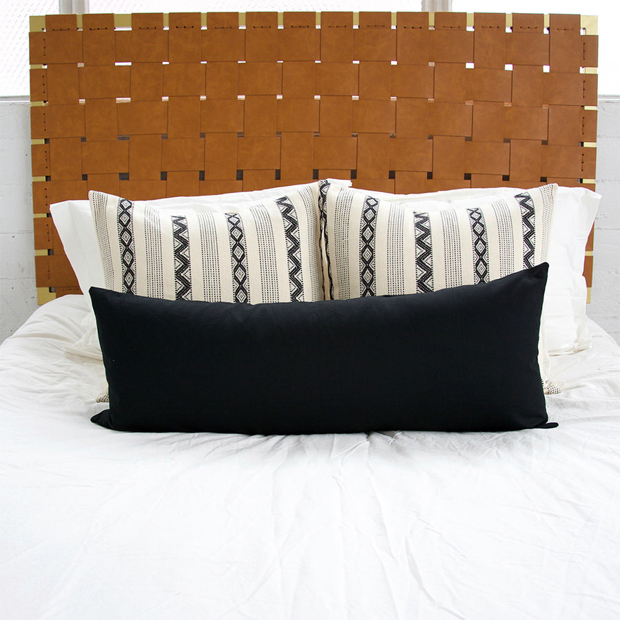 Black & Cream Zig Zag Pattern + Black lumbar- 3 Piece Pillow Set