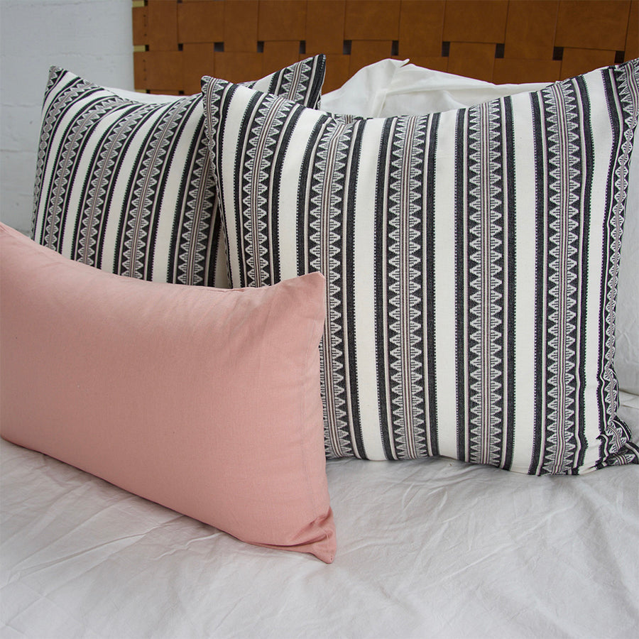 White & Black Sawtooth + Pink Small Lumbar - 3 Piece Pillow Set