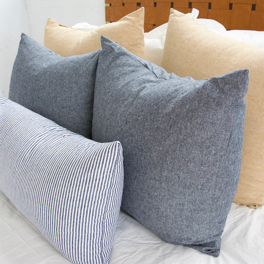 Tan + Navy + Stripe 5 Piece Pillow Set