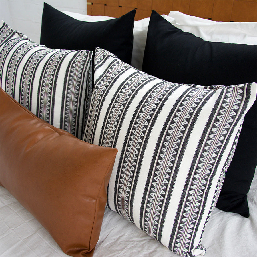 Black + White & Black Sawtooth + Faux Leather - 5 Piece Pillow Set