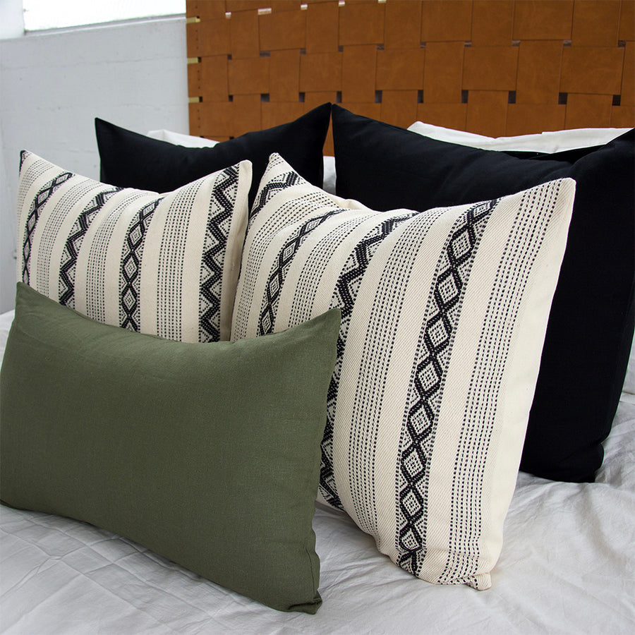 Black + Black & Cream Zig Zag Pattern + Army Green - 5 Piece Pillow Set