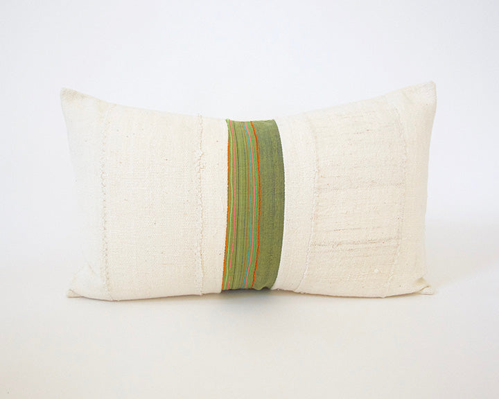 African Mud Cloth & Green Hmong Lumbar Pillow - 14x22