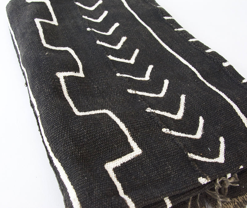 Authentic Black African Mud Cloth Blanket #2