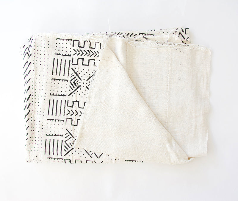 Authentic White African Mud Cloth Blanket #1