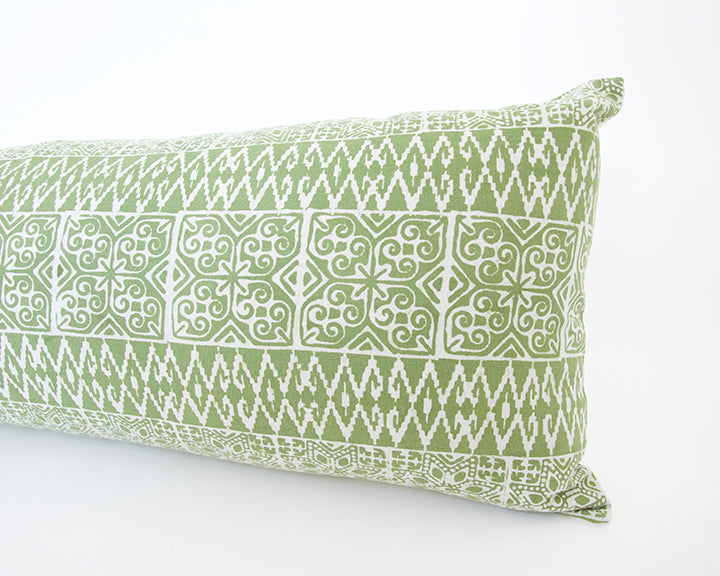 Batik Extra Long Lumbar Pillow - Green - 14x36