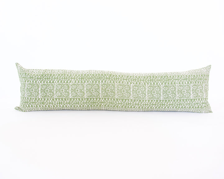 Batik Extra Long Lumbar Pillow - Green - 14x50
