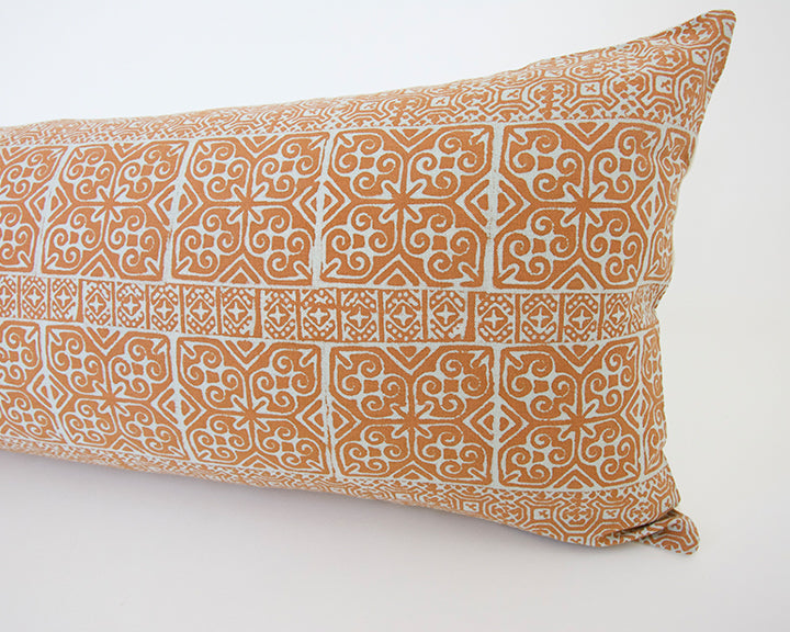 Batik Extra Long Lumbar Pillow - Orange - 14x36