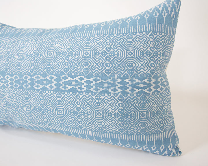 Batik Lumbar Pillow - Baby Blue - 14x22