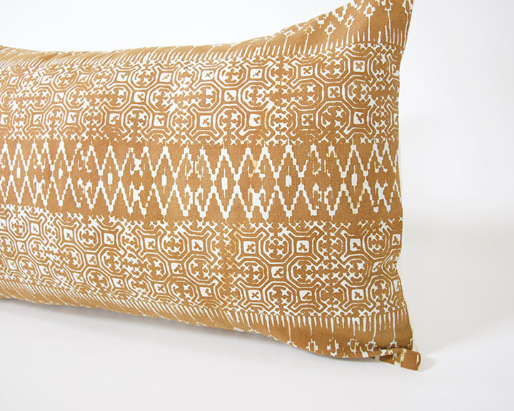 Batik Lumbar Pillow - Rust - 14x22