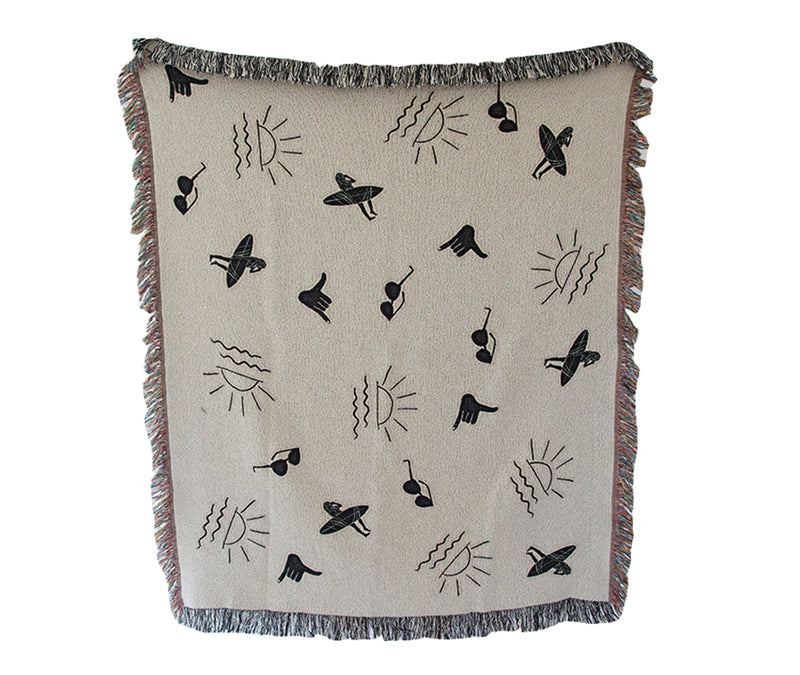 Black & White Beach Days Throw Blanket