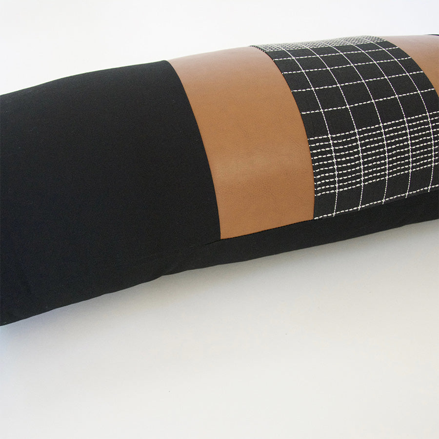 Mix & Match: Black Grid / Faux Leather Extra Long Lumbar Pillow - 14x36