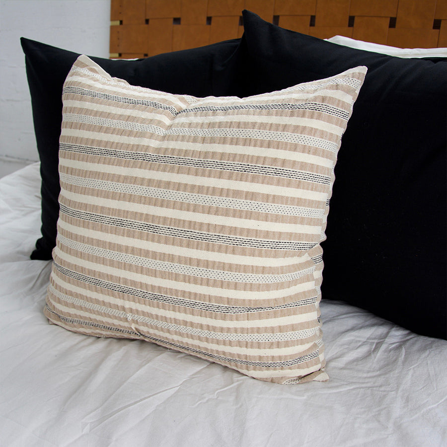 Nude, Cream & Black Striped Accent Pillow - 22x22