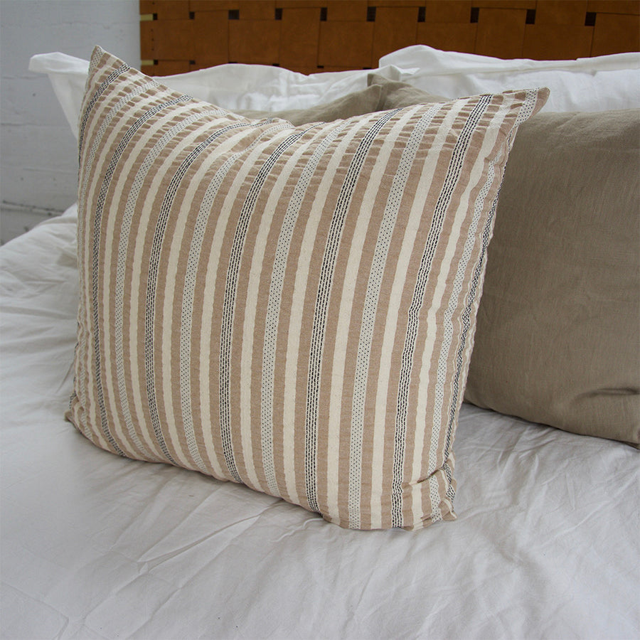Nude, Cream & Black Striped Accent Pillow - 24x24