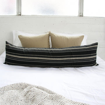Black, White & Grey Striped Extra Long Lumbar Pillow - 14x50