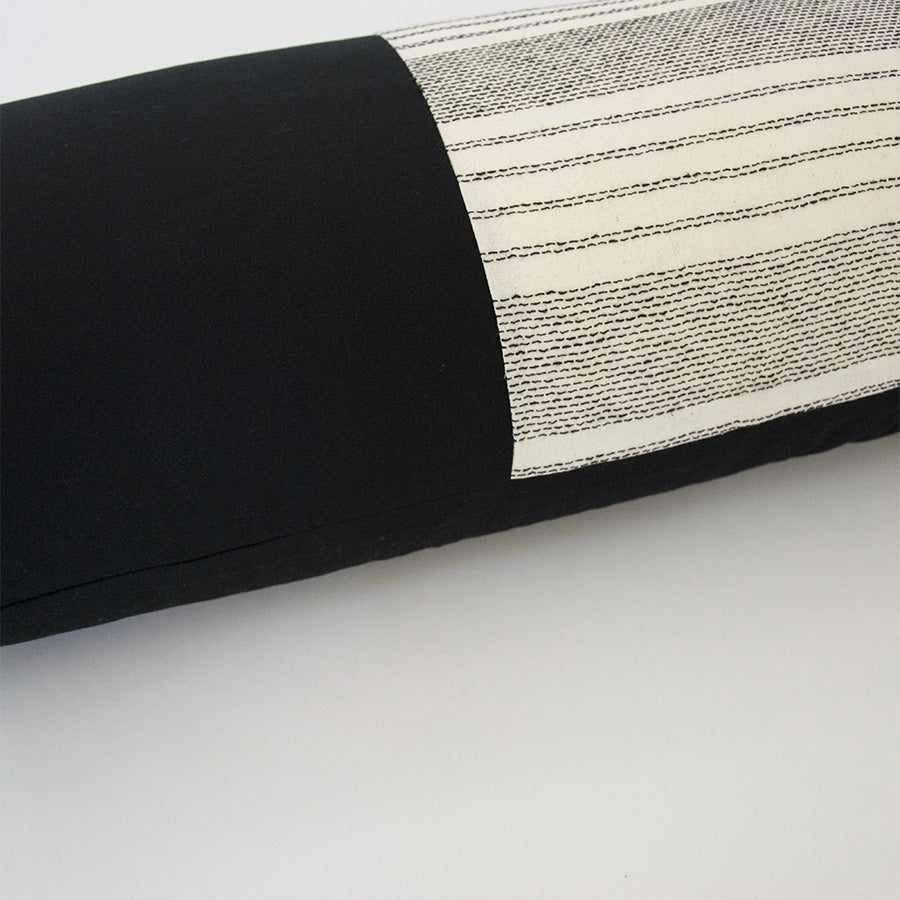 Mix & Match: White Stripe / Black Extra Long Lumbar Pillow - 14x36