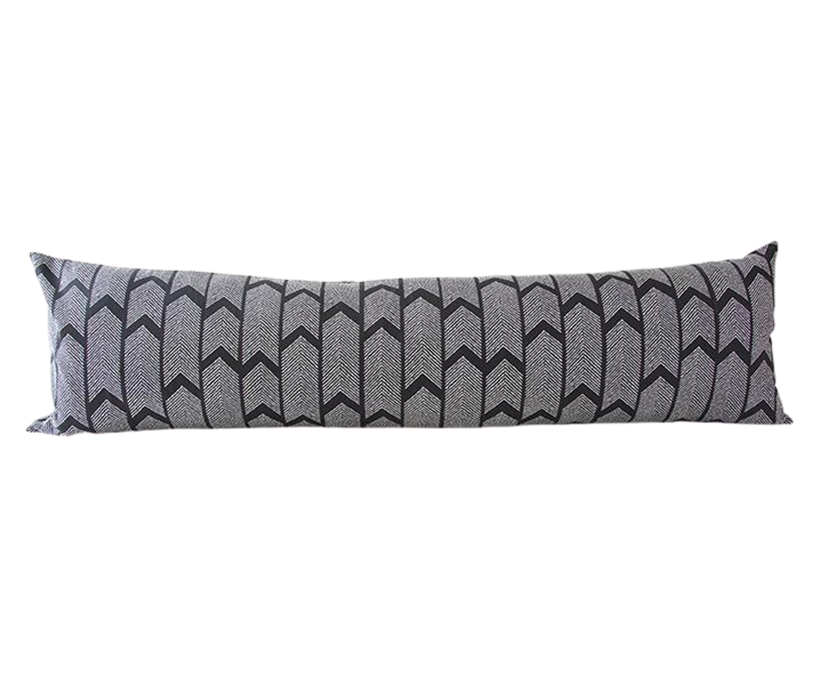 Black Boho Arrow Extra Long Lumbar Pillow - 14x50