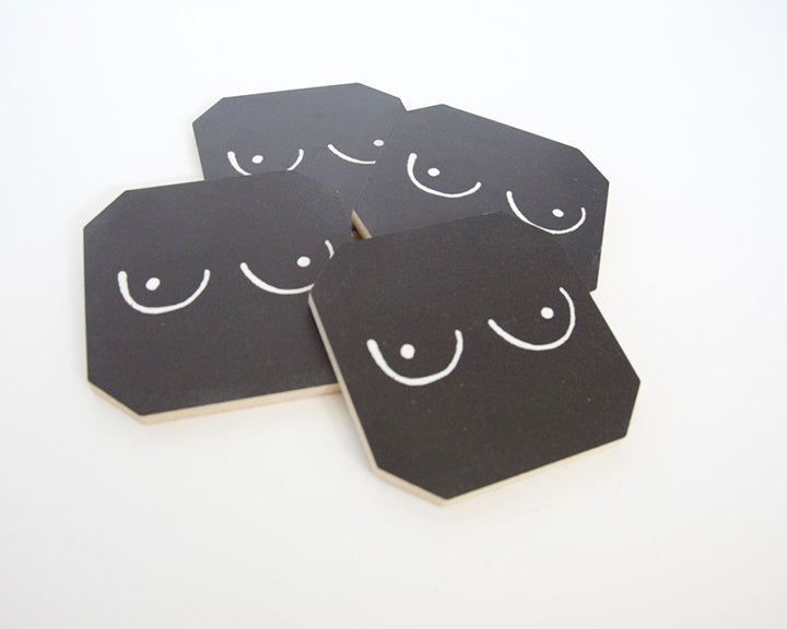 Black Boobs Coaster Set