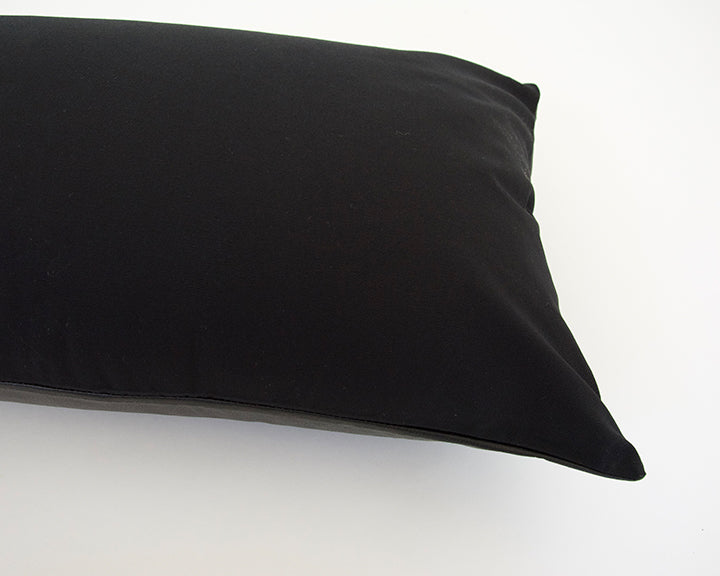 Black Faux Leather Extra Long Lumbar Pillow - 14x36