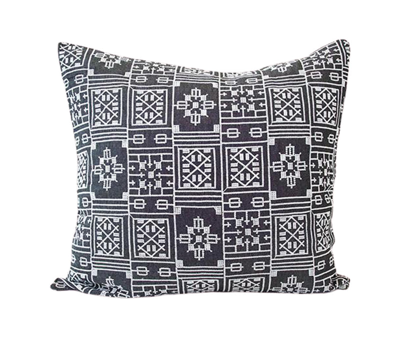 Black Geometric Embroidered Accent Pillow - 20x20