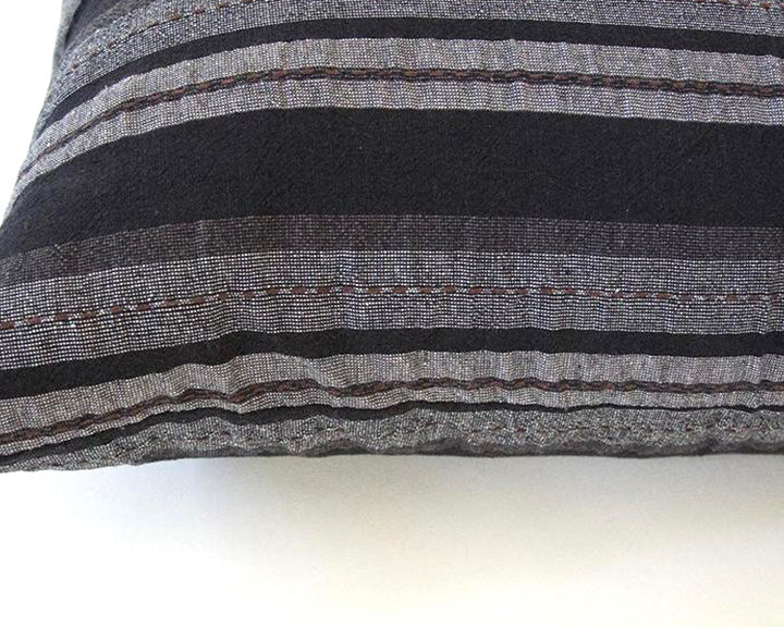 Black, Grey & Brown Striped Accent Pillow - 20x20