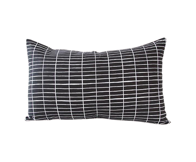 Black Linen Lumbar Pillow with Printed White Grid - 14x22