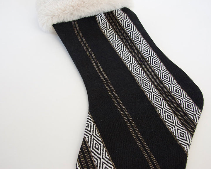 Black Southwest Stripes Christmas Stocking