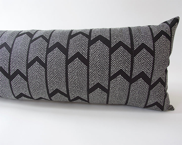 Black Boho Arrow Extra Long Lumbar Pillow - 14x36