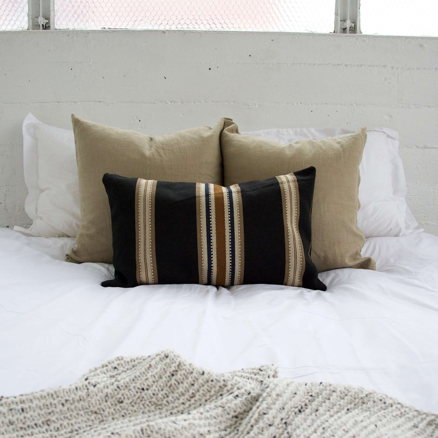 Black, Carmel & Cream Striped Lumbar Pillow - 14x22