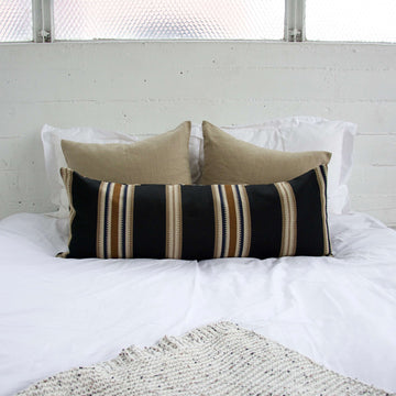 Black, Carmel & Cream Striped Extra Long Lumbar Pillow - 14x36