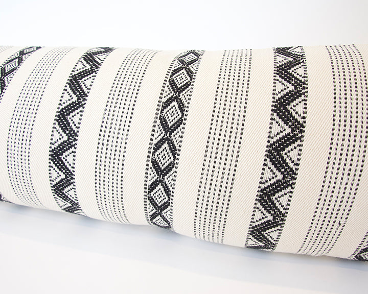 Black & Cream Zig Zag Extra Long Lumbar Pillow - 14x50