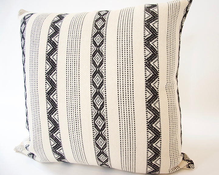 Black & Cream Zig Zag Accent Pillow - 22x22