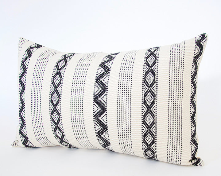 Black & Cream Zig Zag Lumbar Pillow - 14x22