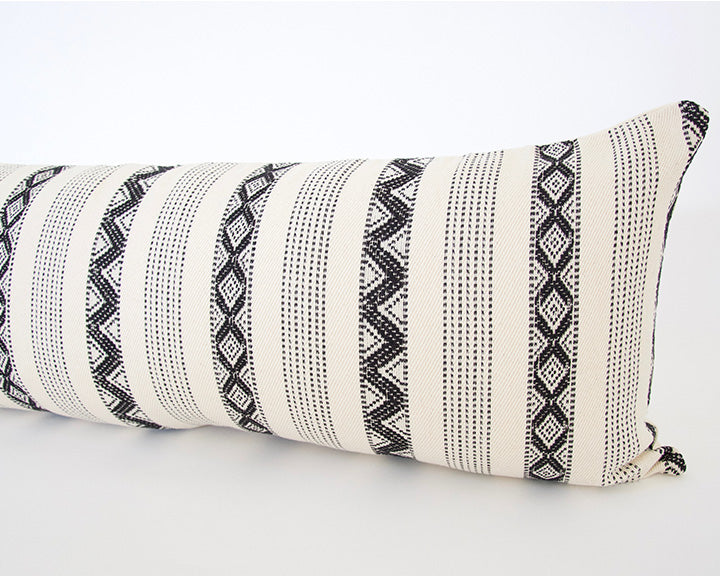 Black & Cream Zig Zag Lumbar Pillow - 14x36