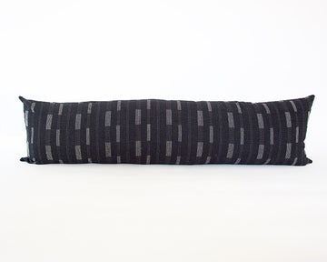 Black Dashed Extra Long Lumbar Pillow - 14x50