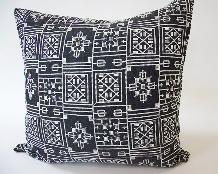 Black Geometric Embroidered Accent Pillow - 22x22