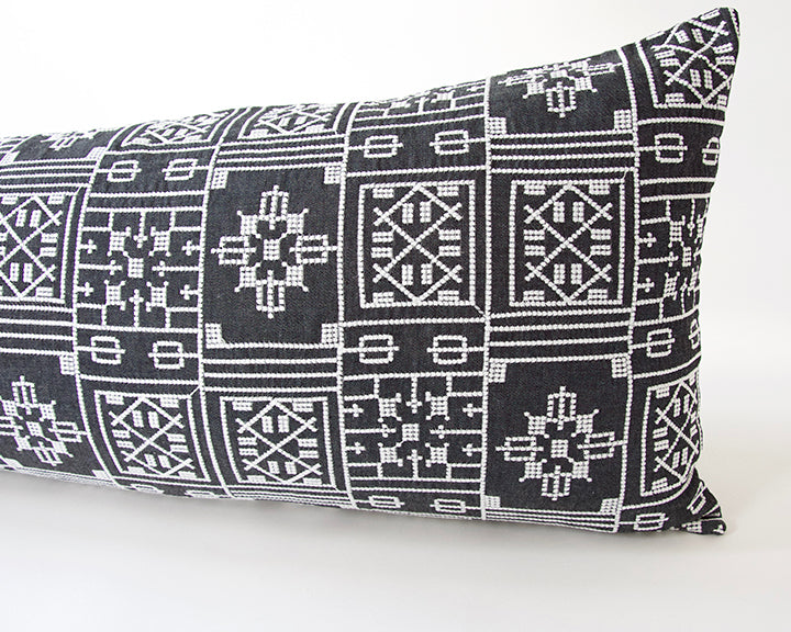 Black Geometric Embroidered Extra Long Lumbar Pillow - 14x36