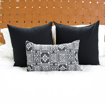 Black Geometric Embroidered Lumbar Pillow - 14x22