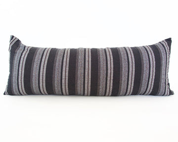 Black, Grey & Brown Striped Extra Long Lumbar Pillow - 14x36
