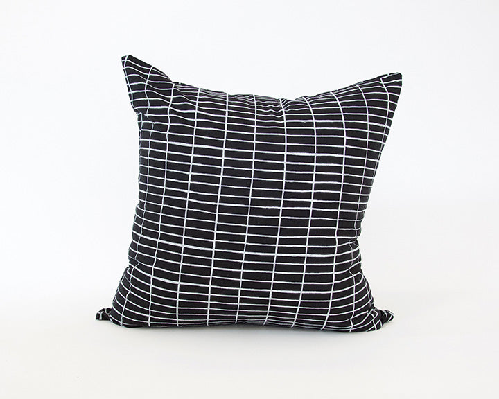 Black Linen Accent Pillow with Printed White Grid - 22x22