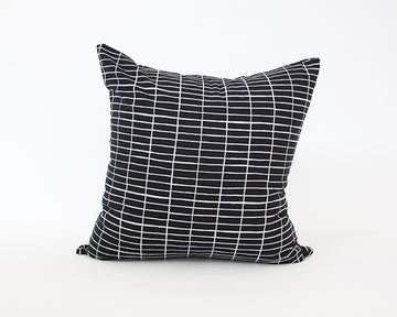 Black Linen Accent Pillow with Printed White Grid - 20x20