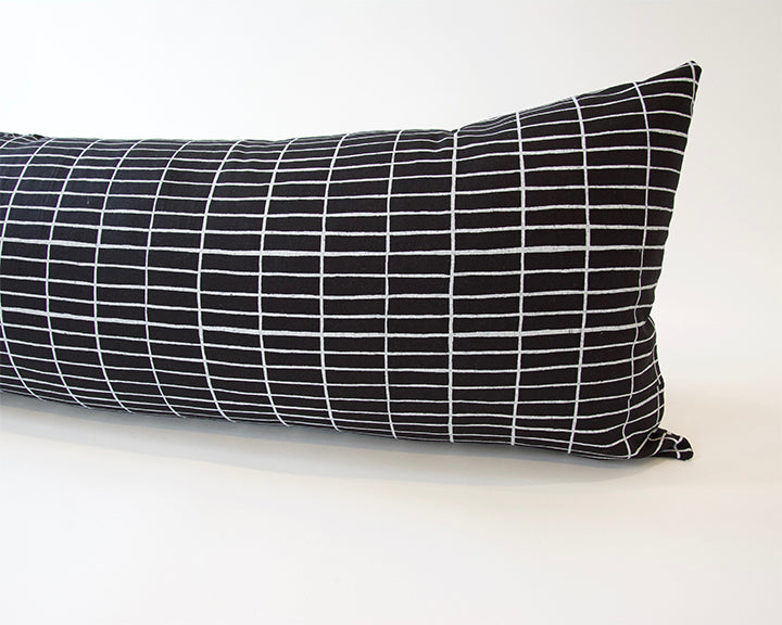 Black Linen Extra Long Lumbar Pillow with Printed White Grid - 14x36