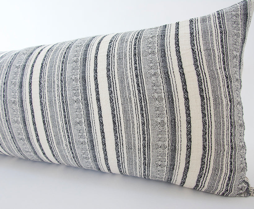Black & Off White Striped Extra Long Lumbar Pillow - 14x36
