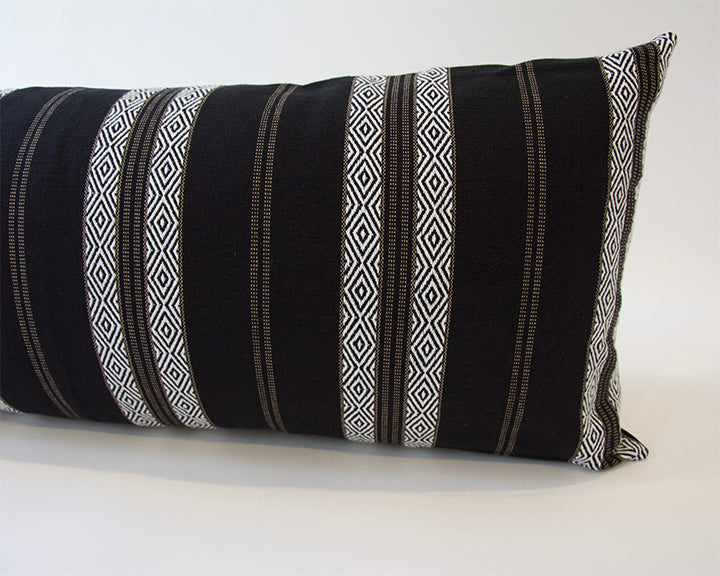Black Southwest Stripes Extra Long Lumbar Pillow - 14x36