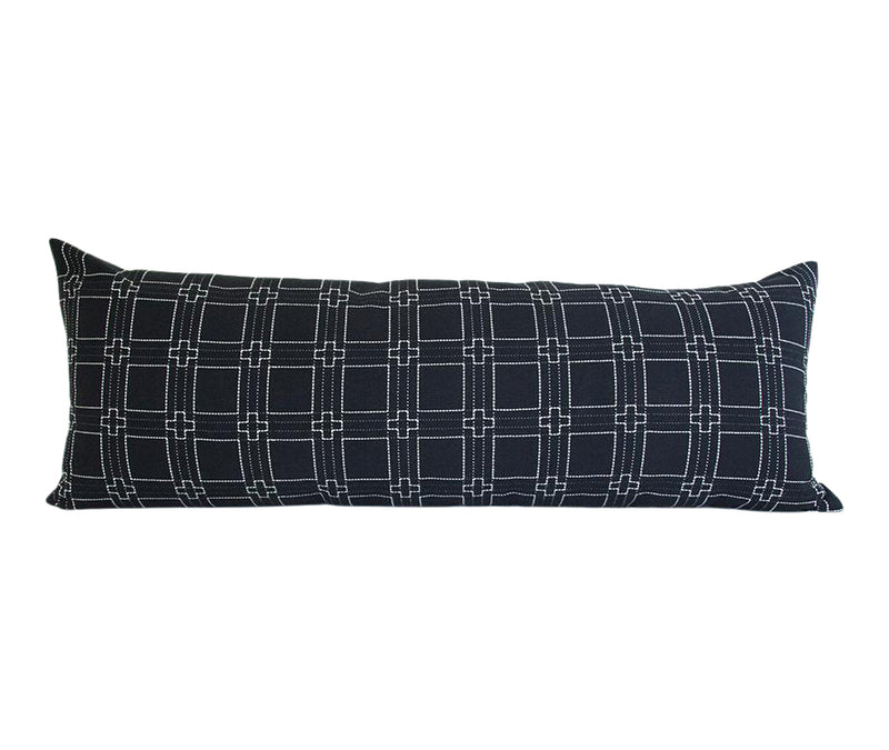 Black & White Cross Extra Long Lumbar Pillow - 14x36
