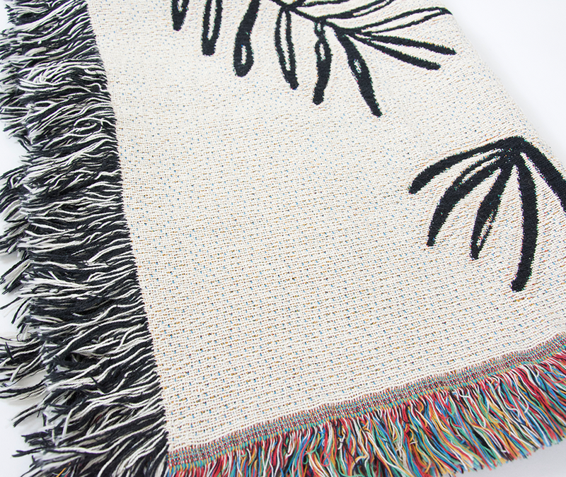 Black & White Tropical Leaves Throw Blanket