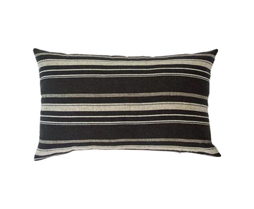 Black, White & Grey Striped Lumbar Pillow - 14x22