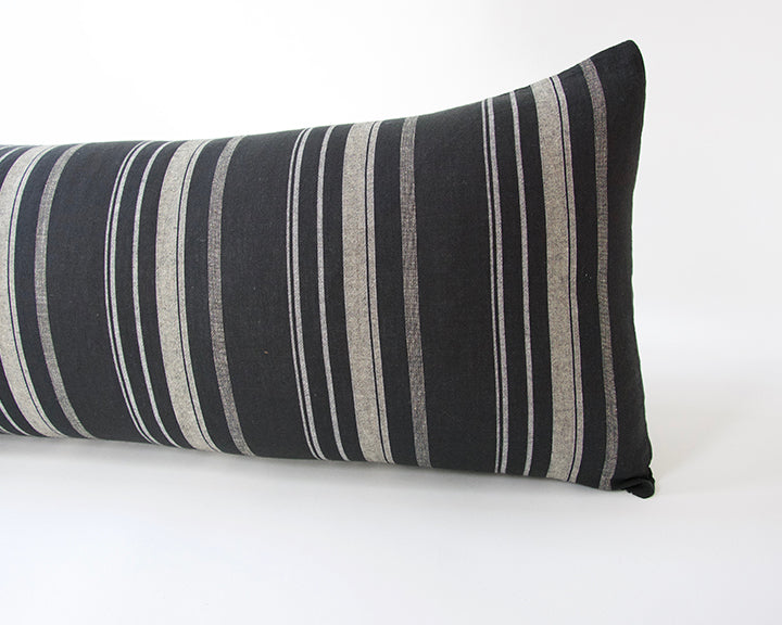Black, White & Grey Striped Extra Long Lumbar Pillow - 14x36
