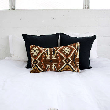 Brown and Black Retro Lumbar Pillow - 14x22